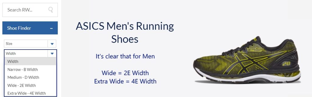 ASICS Men's Wide Shoe Guide